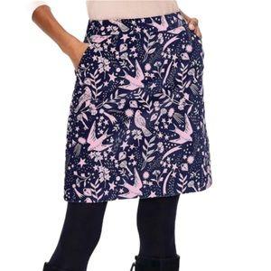 Boden Velvet Bird Mimi Skirt Blue and Pink